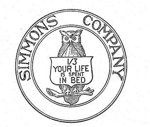 mark for SIMMONS COMPANY 1/3 YOUR LIFE IS SPENT IN BED, trademark #71251417