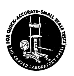 mark for THE CARVER LABORATORY PRESS FOR QUICK-ACCURATE-SMALL SCALE TESTS, trademark #71520794