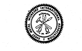 mark for SHEET METAL WORKERS INTERNATIONAL ASSOCIATION ORGANIZED JAN. 25 1888, trademark #72104053