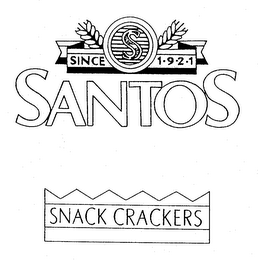mark for SANTOS SNACK CRACKERS SINCE 1.9.2.1 S, trademark #74143436