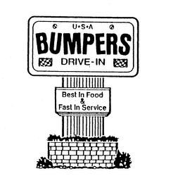mark for USA BUMPERS DRIVE-IN BEST IN FOOD & FAST IN SERVICE, trademark #74257487
