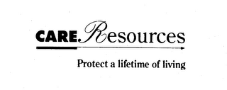 mark for CARE RESOURCES PROTECT A LIFETIME OF LIVING, trademark #74337792