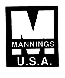 mark for M MANNINGS U.S.A., trademark #75397257