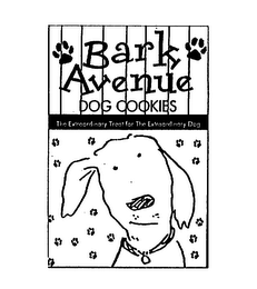 mark for BARK AVENUE DOG COOKIES THE EXTRAORDINARY TREAT FOR THE EXTRAORDINARY DOG, trademark #75437544