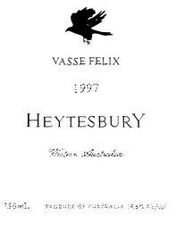 mark for VASSE FELIX 1997 HEYTESBURY WESTERN AUSTRALIA 750ML PRODUCE OF AUSTRALIA 14.6% ALC./VOL., trademark #75789569