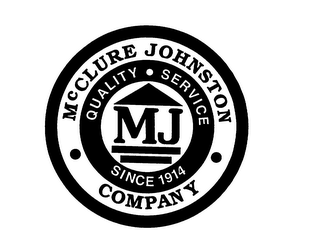 mark for MCCLURE JOHNSTON COMPANY MJ QUALITY SERVICE SINCE 1914, trademark #76009867