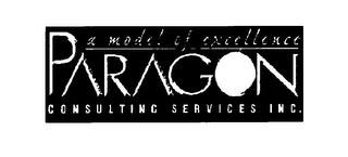 mark for A MODEL OF EXCELLANCE PARAGON CONSULTING SERVICES, trademark #76081206