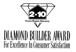 mark for 2-10 HOME BUYERS WARRANTY DIAMOND BUILDER AWARD FOR EXCELLENCE IN CONSUMER SATISFACTION, trademark #76087828