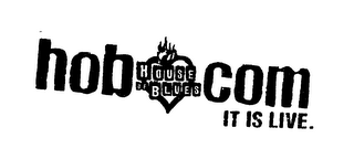 mark for HOUSE OF BLUES HOB.COM IT IS LIVE., trademark #76124705