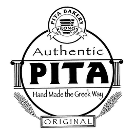 mark for PITA BAKERY KRONOS AUTHENTIC PITA HAND MADE THE GREEK WAY ORIGINAL, trademark #76281489