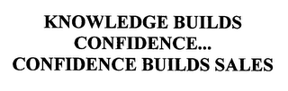 mark for KNOWLEDGE BUILDS CONFIDENCE...CONFIDENCE BUILDS SALES, trademark #76320613