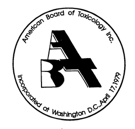 mark for ABT AMERICAN BOARD OF TOXICOLOGY INC. INCORPORATED AT WASHINGTON D.C., APRIL 17, 1979, trademark #76374362