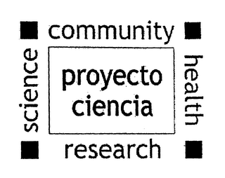 mark for PROYECTO CIENCIA COMMUNITY HEALTH RESEARCH SCIENCE, trademark #76443954