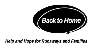 mark for BACK TO HOME HELP AND HOPE FOR RUNAWAYS AND FAMILIES, trademark #76532873