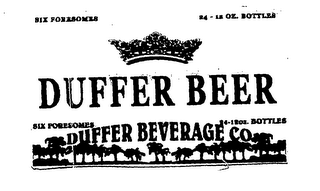 mark for SIX FORESOMES 24-12OZ. BOTTLES DUFFER BEER DUFFER BEVERAGE CO., trademark #76593423