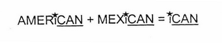 mark for AMERICAN + MEXICAN = ICAN, trademark #76609017
