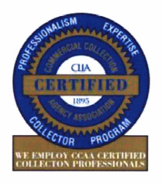mark for CERTIFIED PROFESSIONALISM EXPERTISE COLLECTOR PROGRAM COMMERCIAL COLLECTION AGENCY ASSOCIATION CLLA 1895 WE EMPLOY CCAA CERTIFIED COLLECTION PROFESSIONALS, trademark #76624136