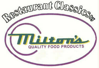 mark for RESTAURANT CLASSICS BY MILTON'S QUALITY FOOD PRODUCTS, trademark #76628671