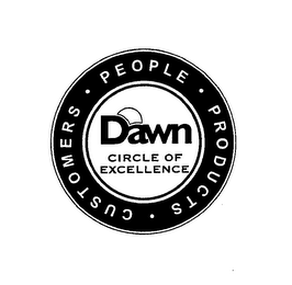 mark for DAWN CIRCLE OF EXCELLENCE PEOPLE · PRODUCTS · CUSTOMERS ·, trademark #76639326