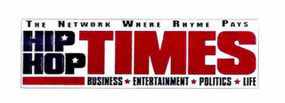 mark for THE NETWORK WHERE RHYME PAYS HIP HOP TIMES BUSINESS ENTERTAINMENT POLITICS LIFE, trademark #76654276