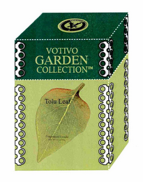 mark for VOTIVO GARDEN COLLECTION TOLU LEAF FRAGRANCED CANDLE VOTIVO V, trademark #76669574