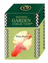 mark for V VOTIVO VOTIVO GARDEN COLLECTION WHITE RHUBARB FRAGRANCED CANDLE, trademark #76669587