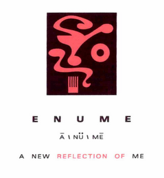 mark for E N U M E ±A \ NÜ \ ME A NEW REFLECTION OF ME, trademark #76709822
