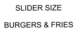mark for SLIDER SIZE BURGERS & FRIES, trademark #76711643