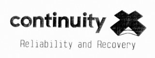 mark for CONTINUITY X RELIABILITY AND RECOVERY, trademark #76712290