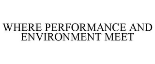 mark for WHERE PERFORMANCE AND ENVIRONMENT MEET, trademark #77000578