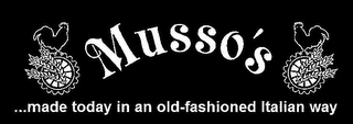 mark for MUSSO'S MADE TODAY IN AN OLD-FASHIONED ITALIAN WAY, trademark #77020505