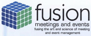 mark for FUSION MEETINGS AND EVENTS FUSING THE ART AND SCIENCE OF MEETING AND EVENT MANAGEMENT, trademark #77033175