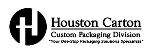 "mark for H HOUSTON CARTON CUSTOM PACKAGING DIVISION ""YOUR ONE-STOP PACKAGING SOLUTION SPECIALISTS"", trademark #77090450"