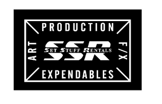 mark for SSR SET STUFF RENTALS PRODUCTION ART F/X EXPENDABLES, trademark #77102256