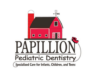 mark for PAPILLION PEDIATRIC DENTISTRY SPECIALIZED CARE FOR INFANTS, CHILDREN, AND TEENS, trademark #77115684