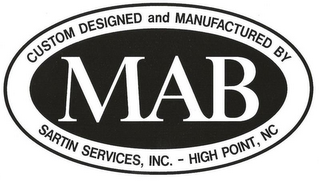 mark for MAB CUSTOM DESIGNED AND MANUFACTURED BY SARTIN SERVICES, INC. - HIGH POINT, NC, trademark #77119532