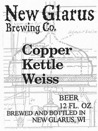 mark for NEW GLARUS BREWING CO. COPPER KETTLE WEISS BEER 12 FL. OZ. BREWED AND BOTTLED IN NEW GLARUS, WI, trademark #77138510