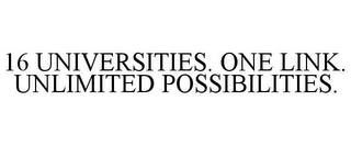 mark for 16 UNIVERSITIES. ONE LINK. UNLIMITED POSSIBILITIES., trademark #77152846