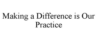 mark for MAKING A DIFFERENCE IS OUR PRACTICE, trademark #77169226