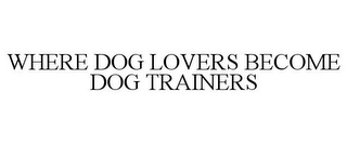 mark for WHERE DOG LOVERS BECOME DOG TRAINERS, trademark #77187141