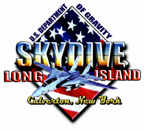 mark for U.S. DEPARTMENT OF GRAVITY SKYDIVE LONG ISLAND CALVERTON, NEW YORK, trademark #77200491