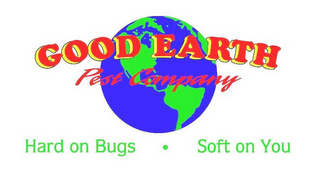 mark for GOOD EARTH PEST COMPANY HARD ON BUGS · SOFT ON YOU, trademark #77222718