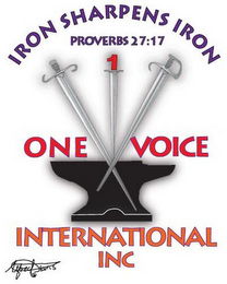 mark for IRON SHARPENS IRON PROVERBS 27:17 1 ONE VOICE INTERNATIONAL INC ALFRED HARRIS, trademark #77256495
