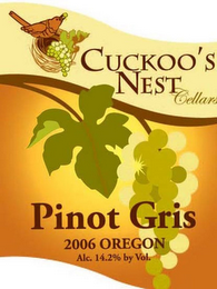 mark for CUCKOO'S NEST CELLARS PINOT GRIS 2006 OREGON ALC 14% BY VOL, trademark #77284731