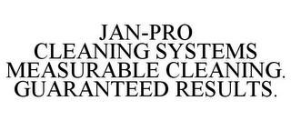 mark for JAN-PRO CLEANING SYSTEMS MEASURABLE CLEANING. GUARANTEED RESULTS., trademark #77286944