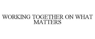 mark for WORKING TOGETHER ON WHAT MATTERS, trademark #77318155