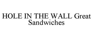 mark for HOLE IN THE WALL GREAT SANDWICHES, trademark #77324636