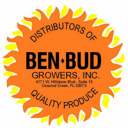 mark for DISTRIBUTORS OF BEN-BUD GROWERS, INC. 4171 W. HILSBORO BLVD., SUITE 13 COCONUT CREEK, FL 33073 QUALITY PRODUCE, trademark #77372114