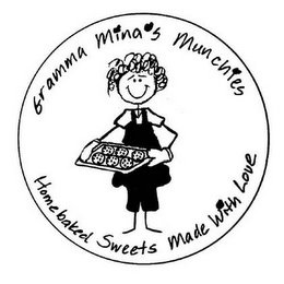 mark for GRAMMA MINA'S MUNCHIES HOMEBAKED SWEETS MADE WITH LOVE, trademark #77380097