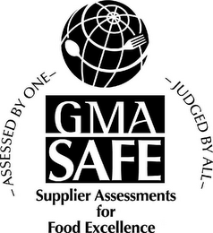 mark for GMA SAFE SUPPLIER ASSESSMENTS FOR FOOD EXCELLENCE ASSESSED BY ONE JUDGED BY ALL, trademark #77380403